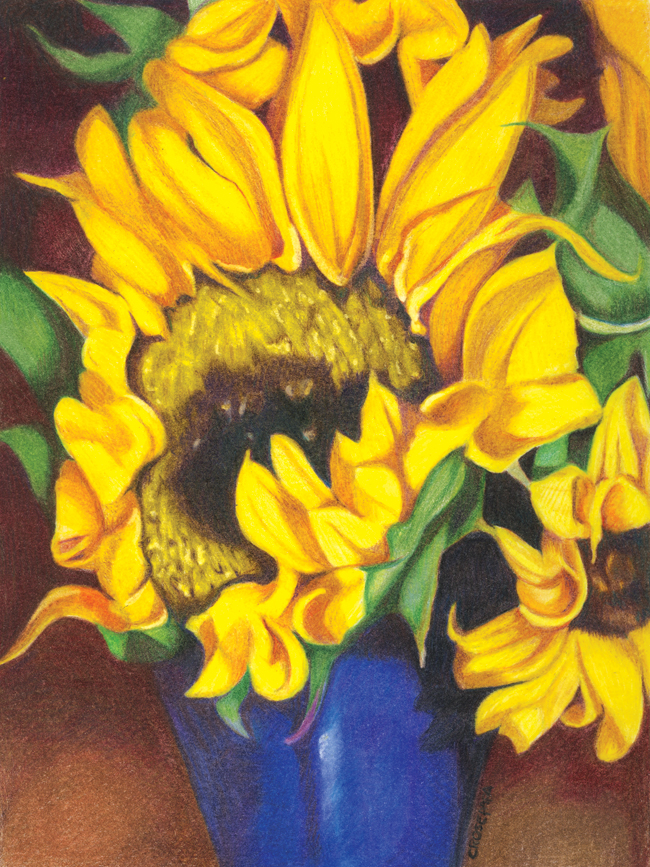 Flowers for Mom, Colored Pencil by Christina Rosepapa