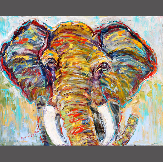 Original-oil-painting-African-Elephant-palette-knife-painting-animal-wildlife-impressionism-by-Karen-Tarlton-eBay-011i