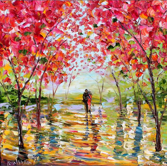 Original-oil-painting-Spring-Romance-landscape-palette-knife-fine-art-impressionism-by-Karen-Tarlton-eBay-019i