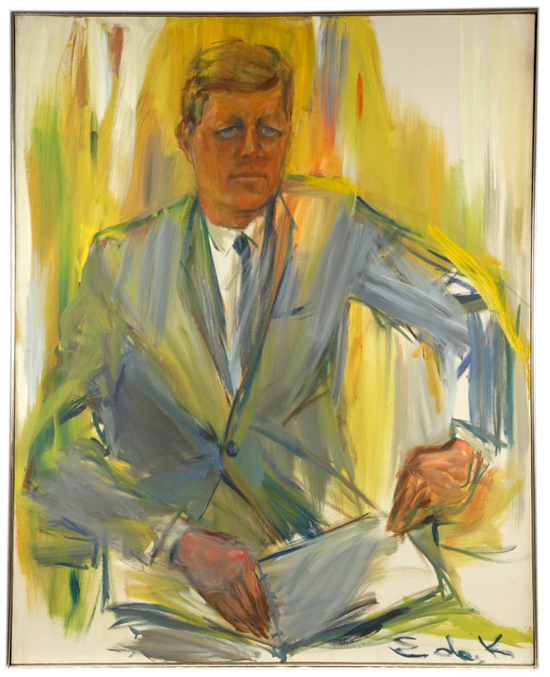 Portrait of President Kennedy sitting in a rocking chair holding a book in his lap.  Rendered in shades of green, yellow and gray.  The President sat informally for the artist in Palm Beach, December 1962, during intervals of work and relaxation.