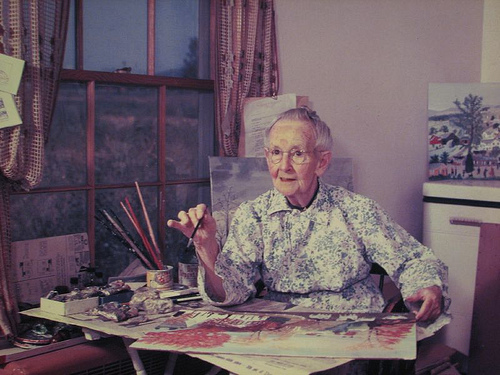 Grandma Moses was inspirational in that she did not begin her painting career or become a famous artist until she was in her late 70's.