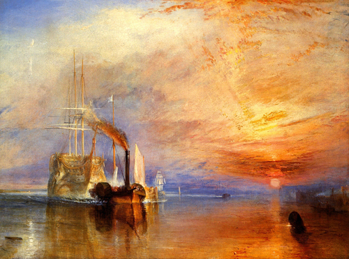 The Fighting Temeraire tugged to her last Berth to be broken up. When Turner came to paint this picture in 1839[4] he was at the height of his career, having exhibited at the Royal Academy, London, for 40 years. He was renowned for his highly atmospheric paintings in which he explored the subjects of the weather, the sea and the effects of light.