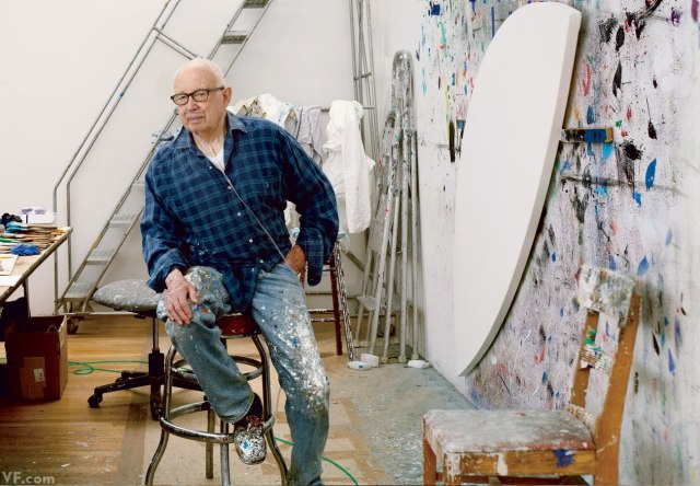 Ellsworth Kelly sits at the painting wall in his 15,000-square-foot Spencertown, NY, studio. Photograph by Annie Leibovitz. (Via Vanity Fair).