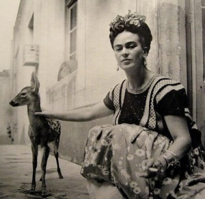 Frida Kahlo with her pet deer