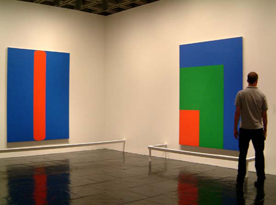"""Ellsworth Kelly: Red Green Blue"" at the Whitney Museum, with Red Blue (1963) (left) and Red Green Blue (1964)"