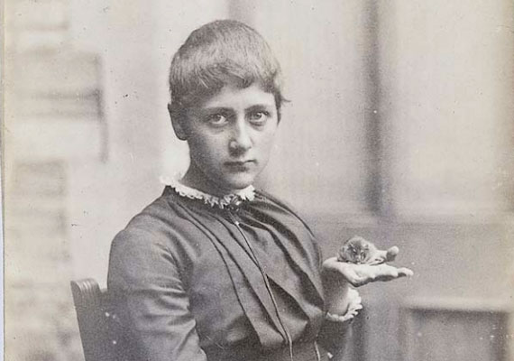 A teenage Beatrix Potter with her pet mouse Xarifa, 1885, from Cotsen Children's Library, Department of Rare Books and Special Collections, Princeton University