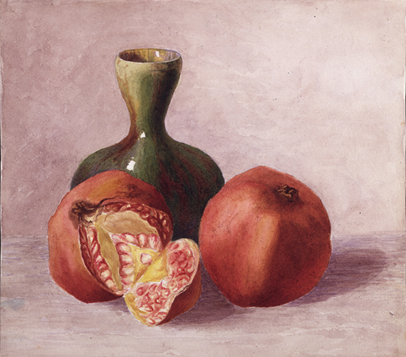 A still life of a vase and pomegranates, painted by Potter in 1881 when she was 15 years old, from the Victoria And Albert Museum