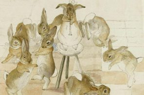 "A rare unfinished version of a scene depicting rabbits dancing at a christmas party, one of a series of six that Potter created in 1892, a year before her letter to Noel mentioning the characters of ""Flopsy, Mopsy, Cottontail – and Peter."""