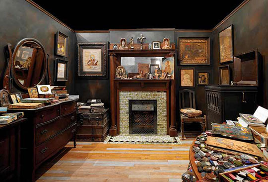 Artist Henry Darger's living and working space, which was located at 851 Webster Street in Chicago. Henry Darger Room Collection includes tracings, clippings from newspapers, magazines, comic books, cartoons, children's books, coloring books, personal documents, and architectural elements, fixtures, and furnishings from Darger's original room.