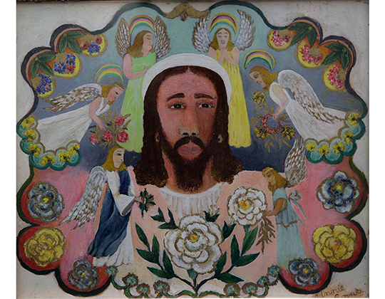 Minnie Evans, (1892-1987), Jesus Christ, 1963. Oil, ink and graphite on paper, 16 ½ x 19 ¼ inches. North Carolina Central University Art Museum, Durham, NC.  Gift of Paul and Virginia Clifford. Courtesy of the North Carolina Central University Art Museum, Durham, NC.