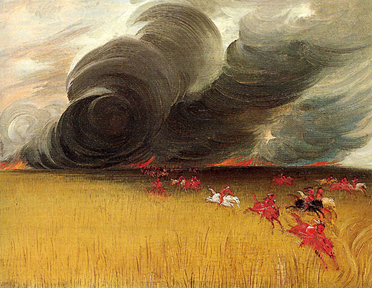 Prairie meadow burning. Wildfires were among the most dangerous and benefical events in prairie life. The growth of lush green grass followed and attracted the essential buffalo herds. George Catlin, 1832, oil.