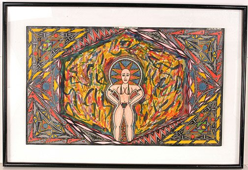 """Ink, paint and marker on paper. Rare in size (large) and the materials he used (paint). Very Collectible! Image: 30"""" x 18"""". Framed: 37"""" x 25"""". Est. $2,000 - $3,000."""