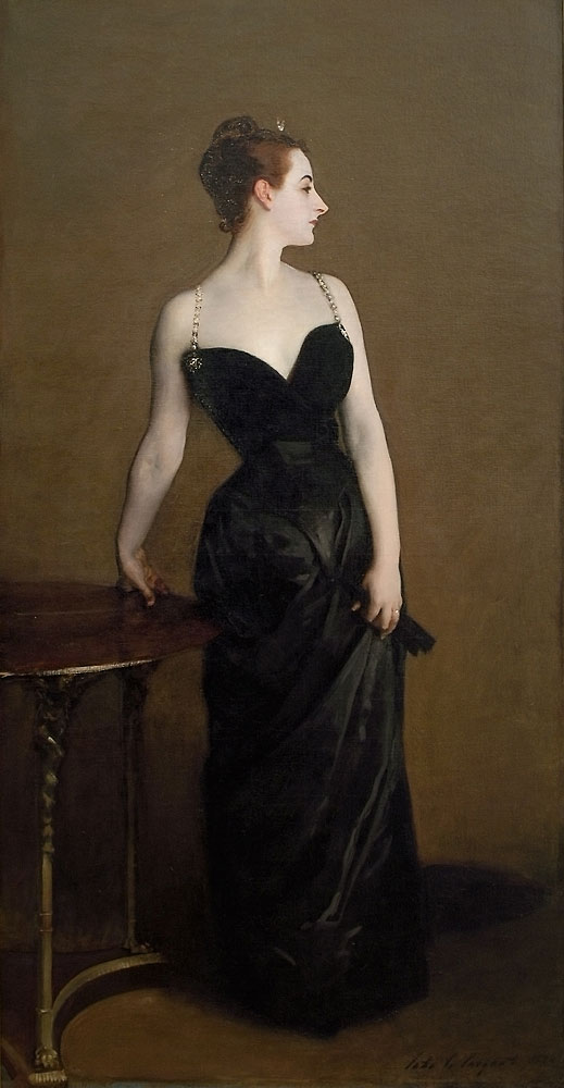 Madame X  John Singer Sargent -- American painter  1884 Metropolitan Museum, New York Oil on canvas 208.6 x 109.9 cm (82 1/8 x 43 1/4 in.)
