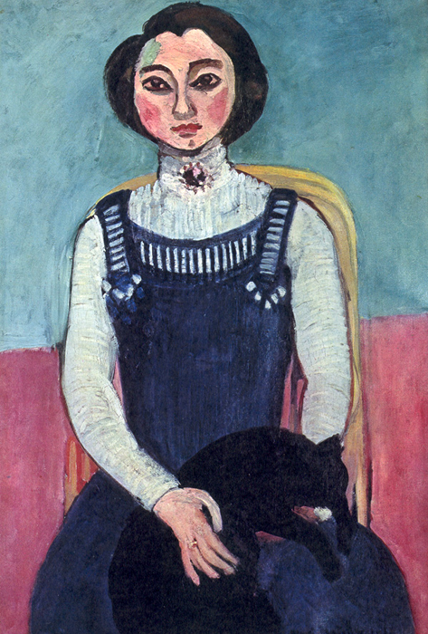 Matisse-Henri-Girl-with-A-Black-Cat-1910