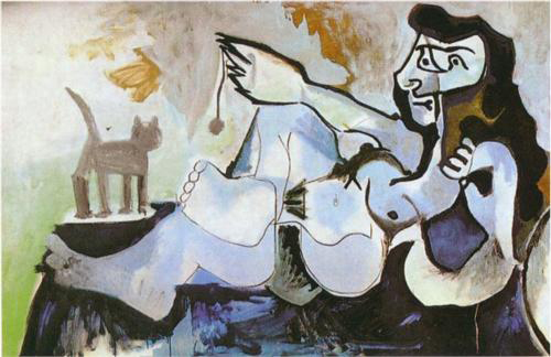Pablo Picasso (Spanish artist, 1881–1973) Reclining female nude playing with cat 1964