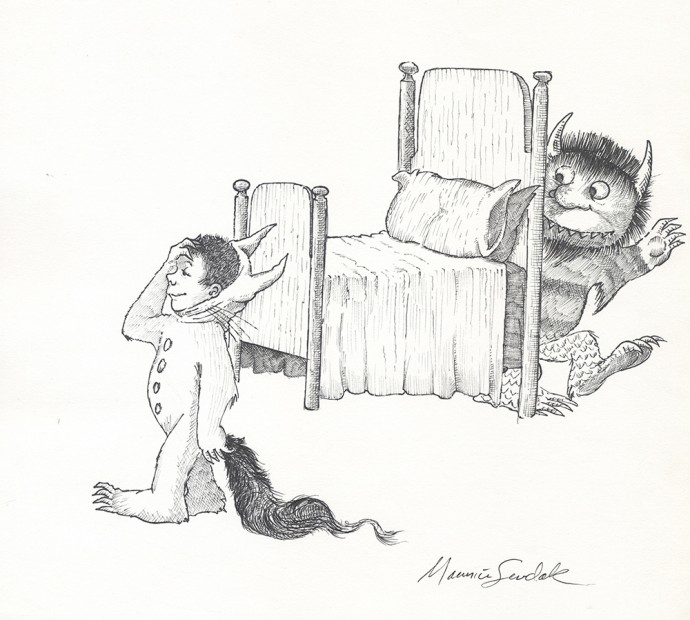 """Maurice Sendak, Original drawing from 'Where the Wild Things Are,' Ink on Paper, 11.7 5 x11.5"""""""