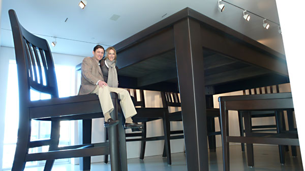 Image: Glenn and Amanda Fuhrman with Robert Therrien's Table and Four Chairs, 2003. Photo courtesy of Stephanie Roach