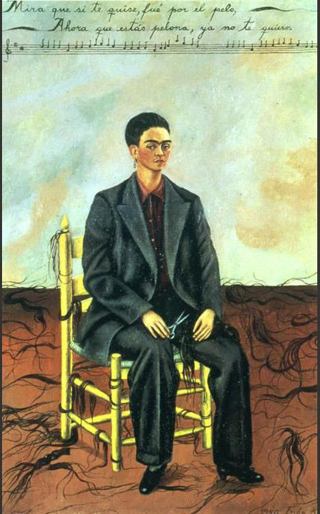Frida Kahlo Self Portrait with Cropped Hair - What is the meaning? - Art and Design Inspiration