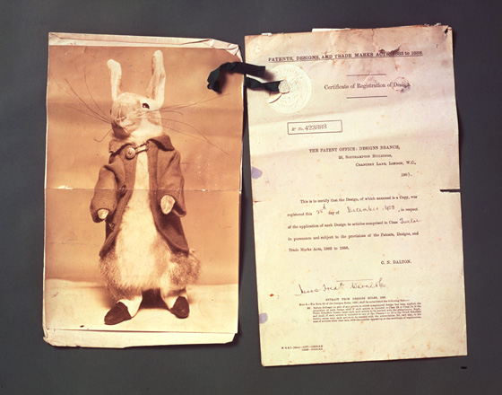 Certificate of registration for a Peter Rabbit doll, 1903, from the Victoria and Albert Museum.