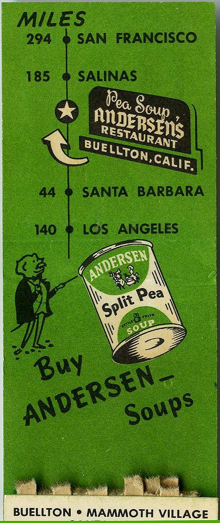 Vintage Anderson Split Pea Soup Matchbook