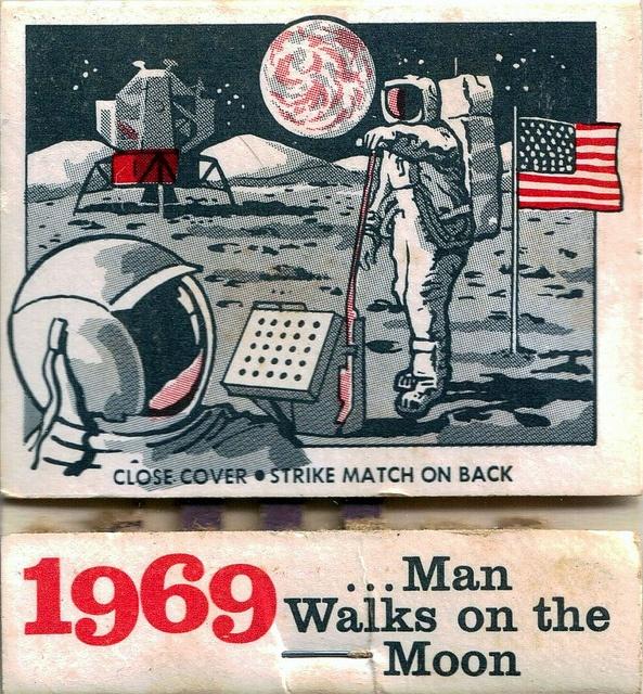 1969 Man Walks on Moon Matchbook Art
