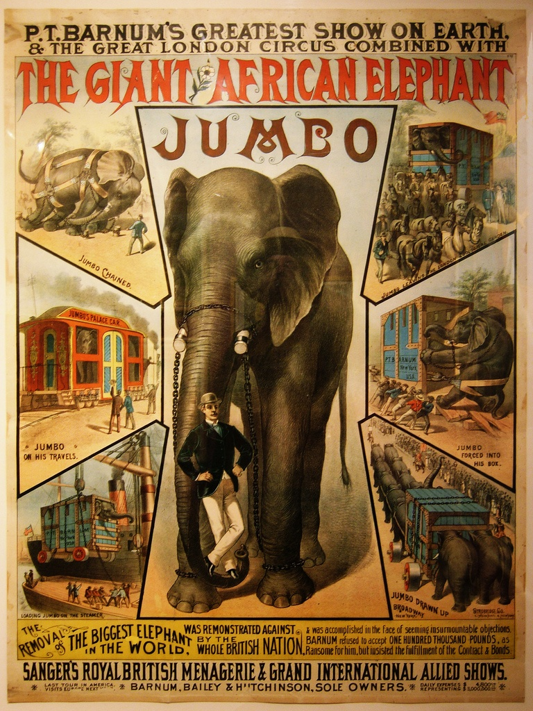 Jumbo the Giant African American Elephant 1882 Circus Poster