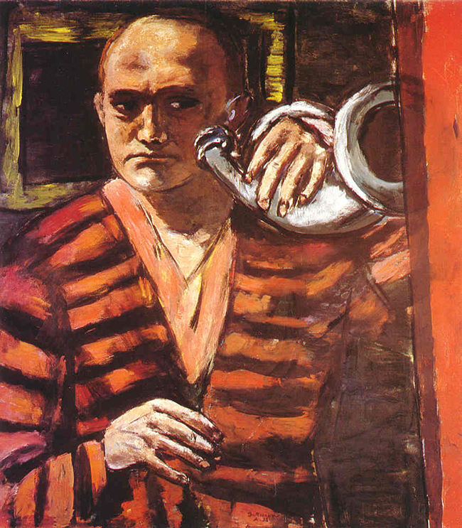 "Max Beckmann painted ""Self-portrait with Hunting Horn"" in 1938"