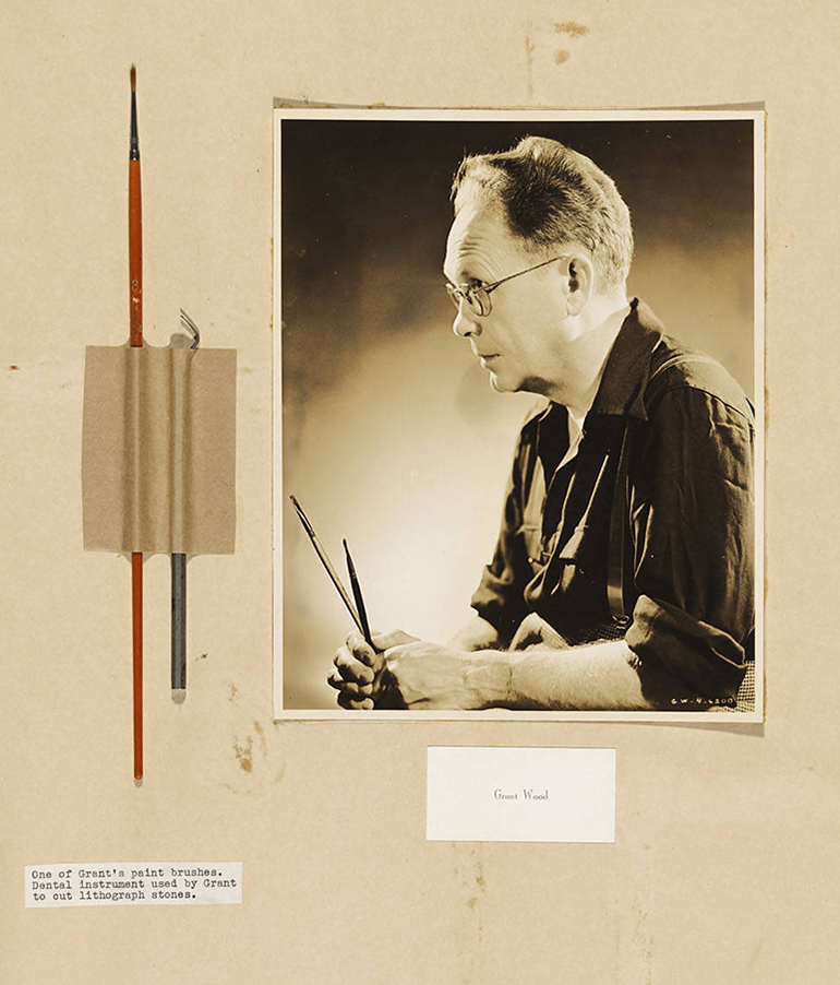 Grant Wood with his brushes and a dental instrument he used.